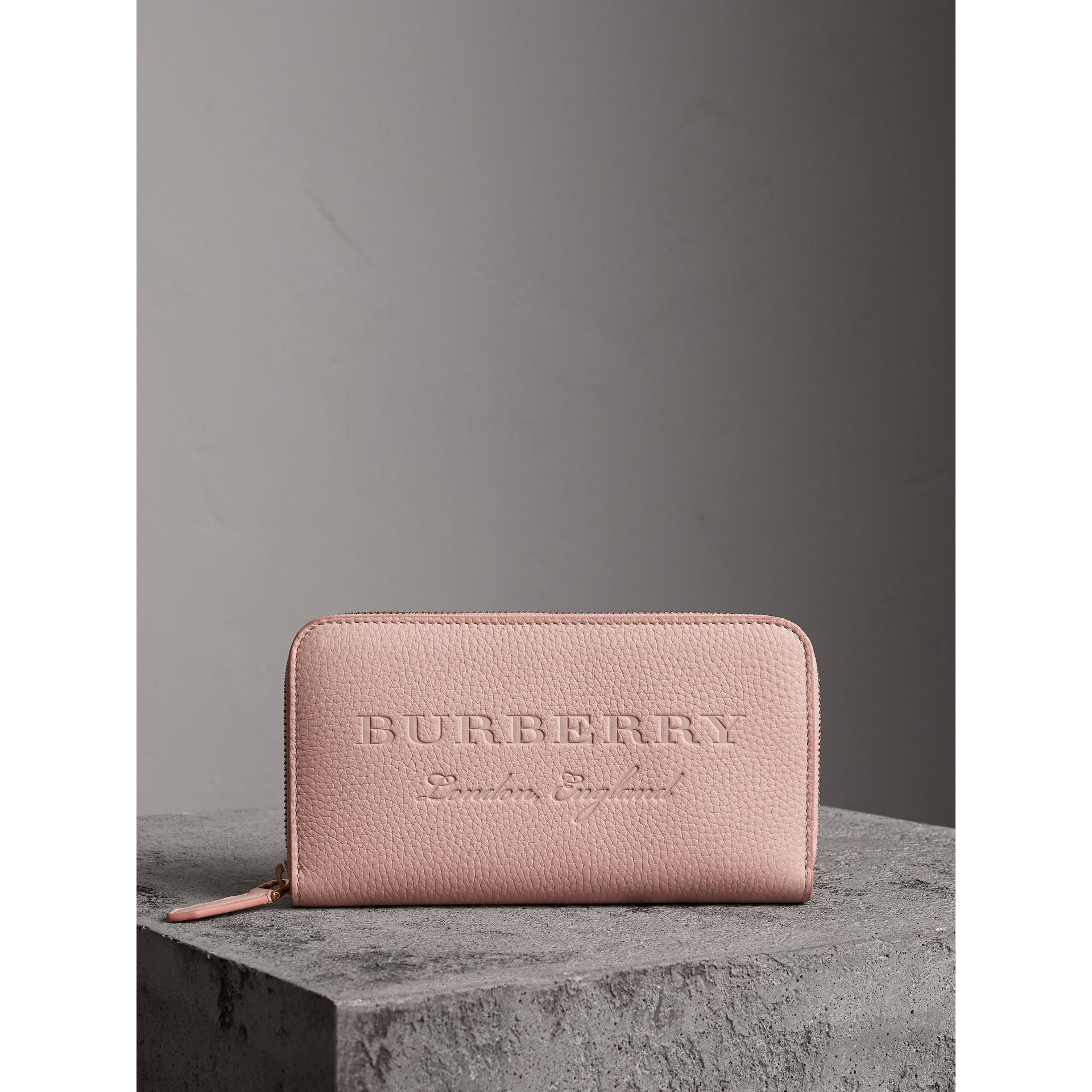 Embossed Leather Ziparound Wallet in Pale Ash Rose - Women | Burberry - gallery image 4