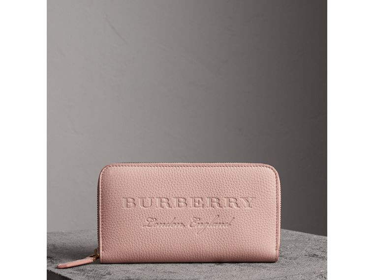Embossed Leather Ziparound Wallet in Pale Ash Rose - Women | Burberry Canada - cell image 4