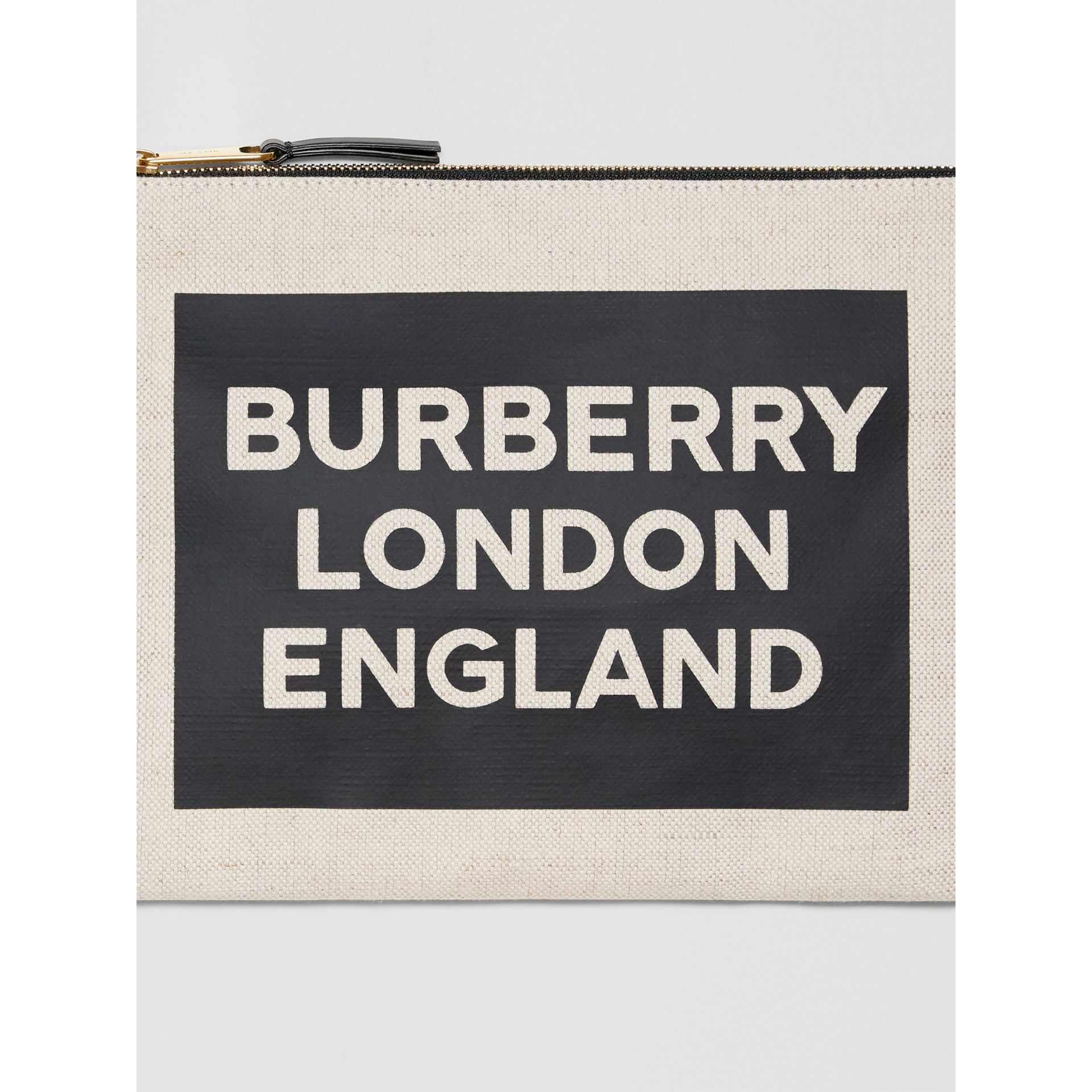 Logo Cotton Canvas Pouch in Natural | Burberry - gallery image 1