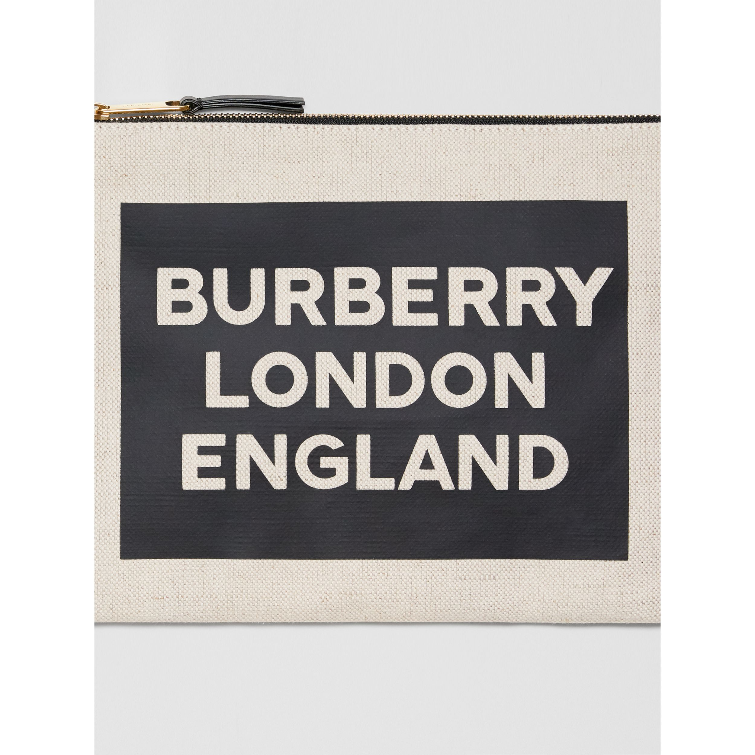 Logo Cotton Canvas Pouch in Natural | Burberry - 2