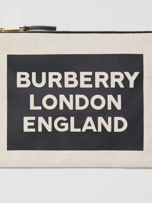 Logo Cotton Canvas Pouch in Natural | Burberry United Kingdom - cell image 1