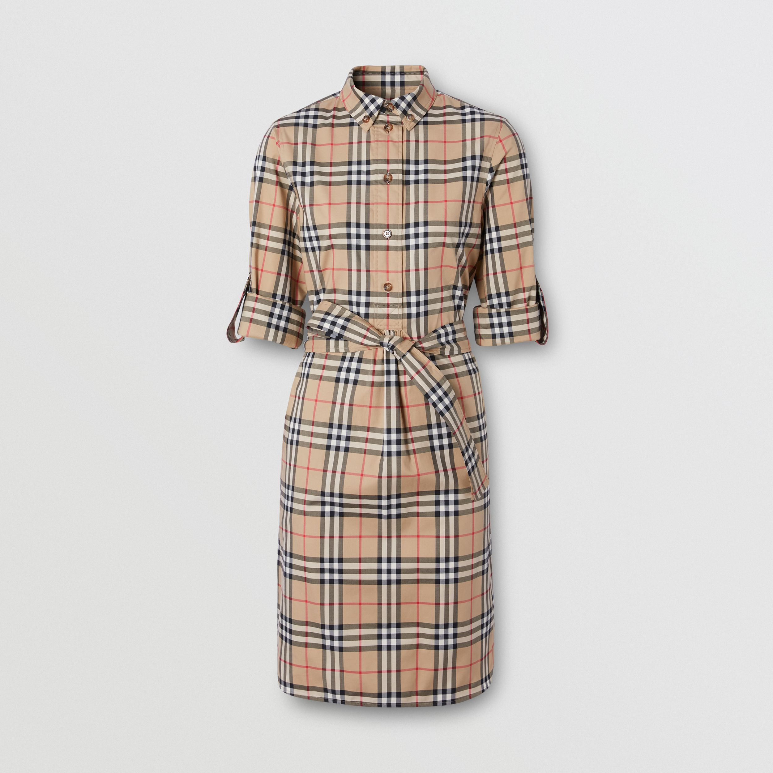 Vintage Check Stretch Cotton Tie-waist Shirt Dress in Archive Beige - Women | Burberry - 4