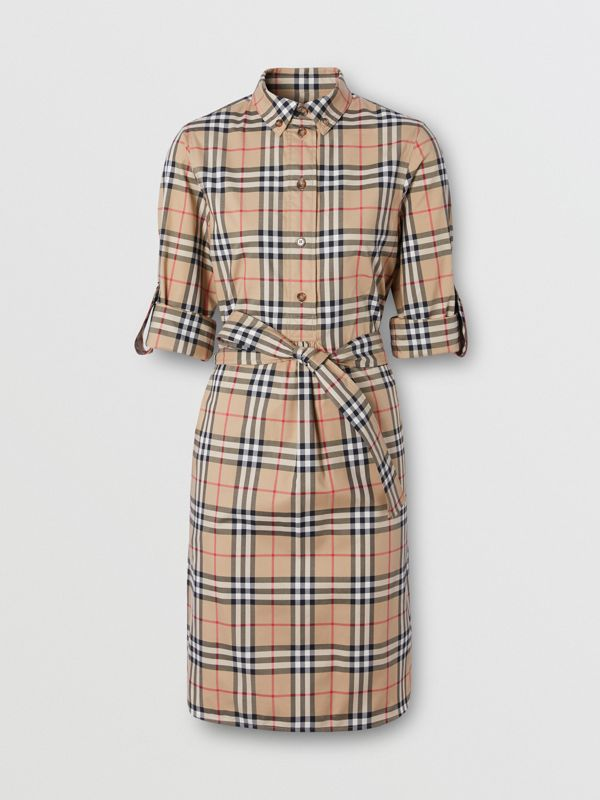 Vintage Check Stretch Cotton Tie-waist Shirt Dress in Archive Beige - Women | Burberry - cell image 3