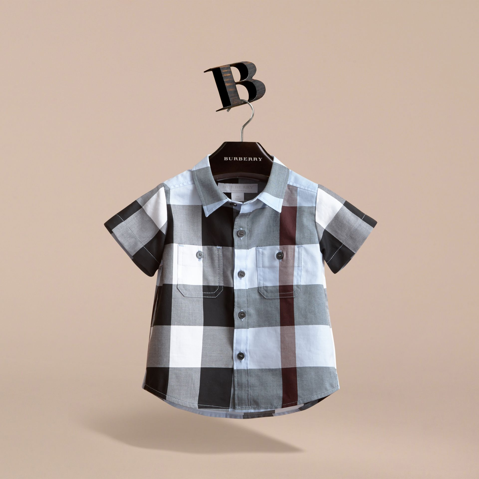 Short-sleeve Check Cotton Shirt in Cornflower Blue - gallery image 3