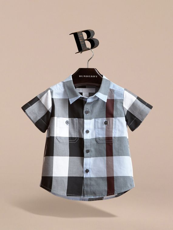 Short-sleeve Check Cotton Shirt in Cornflower Blue | Burberry - cell image 2