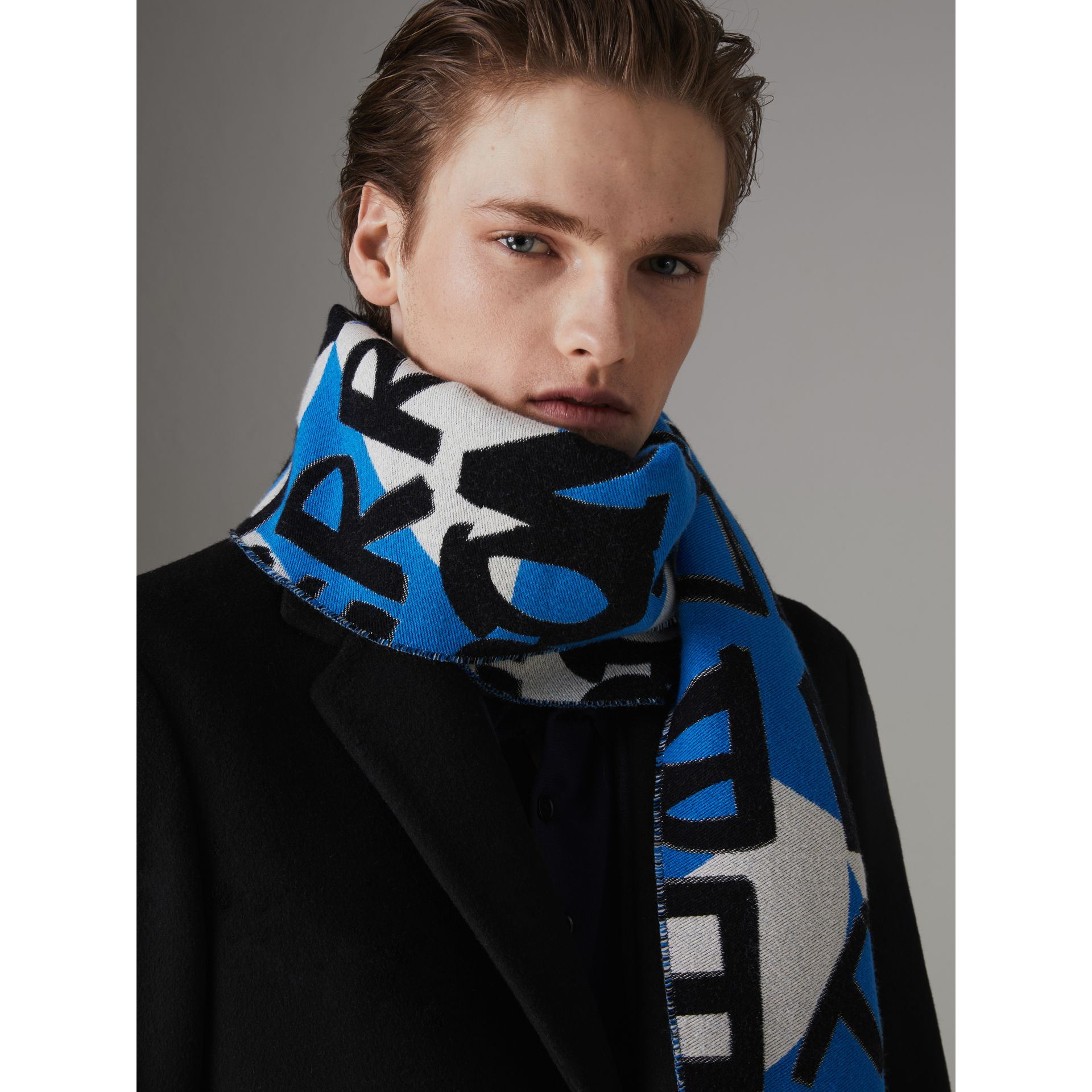 Graffiti Cotton Jacquard Scarf in Bright Sky Blue | Burberry Australia - gallery image 5