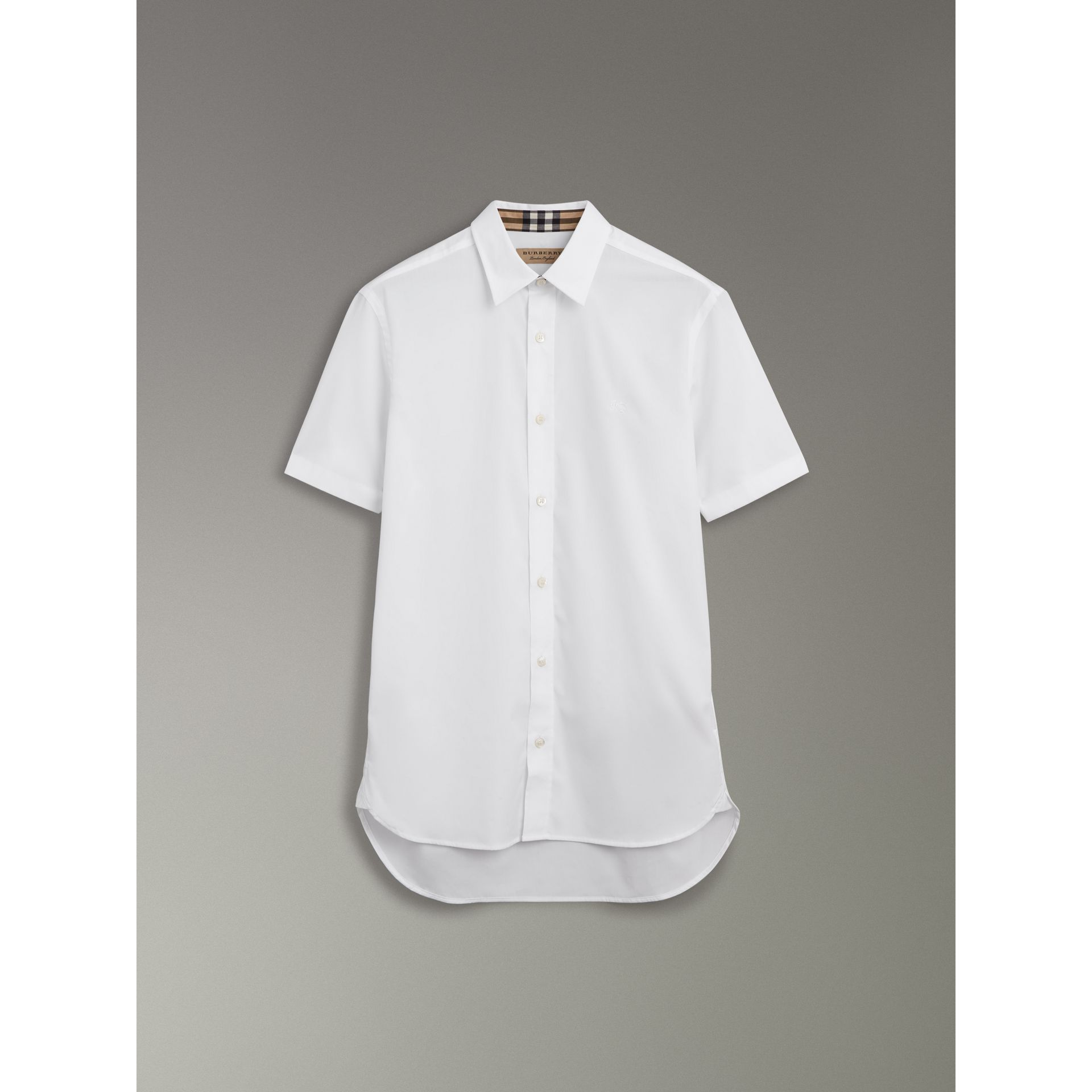 Short-sleeve Stretch Cotton Shirt in White - Men | Burberry - gallery image 3