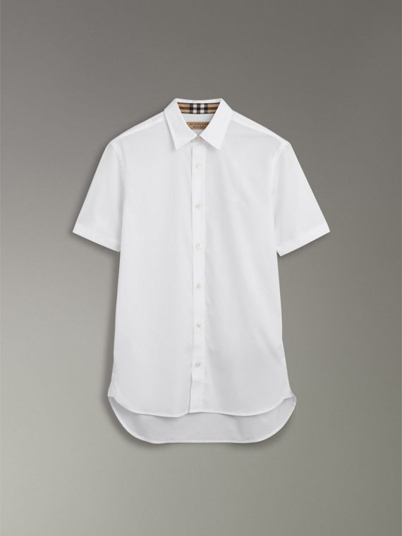 Short-sleeve Stretch Cotton Shirt in White - Men | Burberry Hong Kong - cell image 3