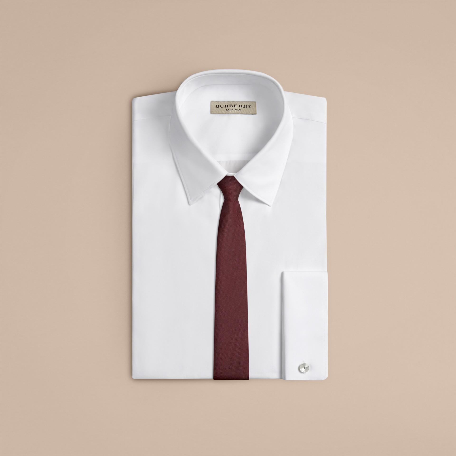 Deep claret Slim Cut Silk Tie - gallery image 2