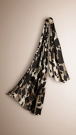 Animal Print Check Silk Scarf