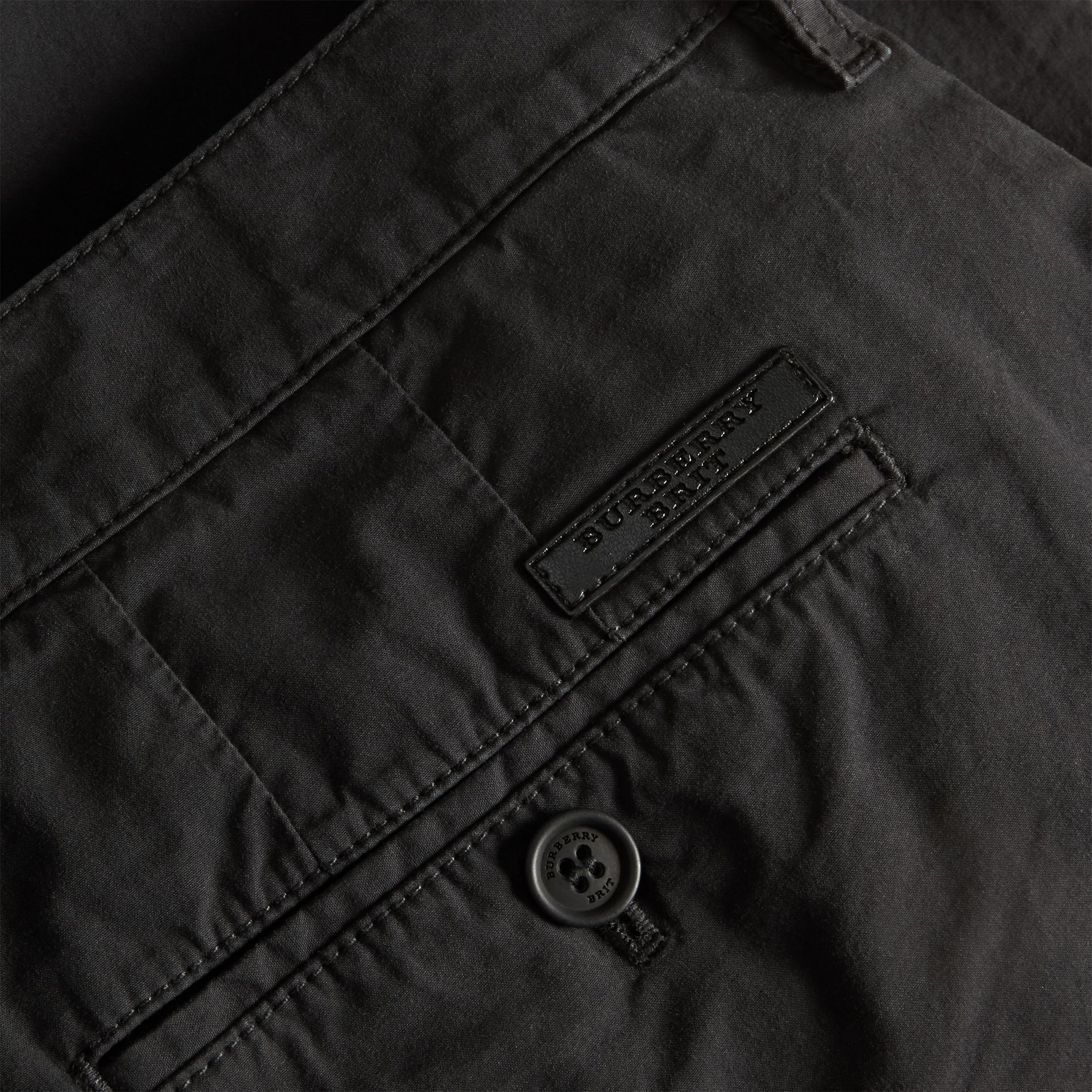 Black Cotton Poplin Chino Shorts Black - gallery image 2
