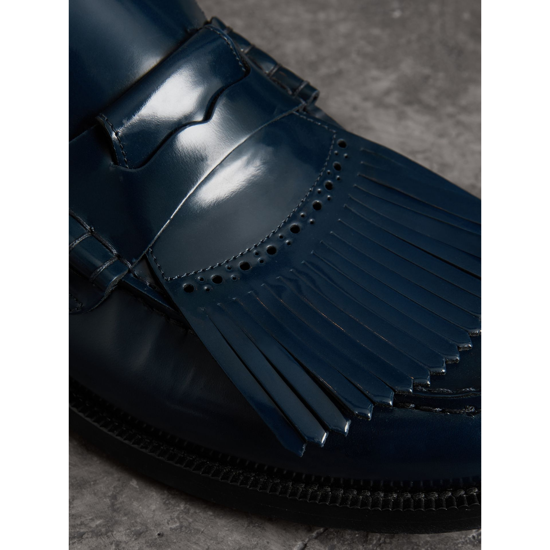 Kiltie Fringe Leather Loafers in Navy - Men | Burberry - gallery image 1