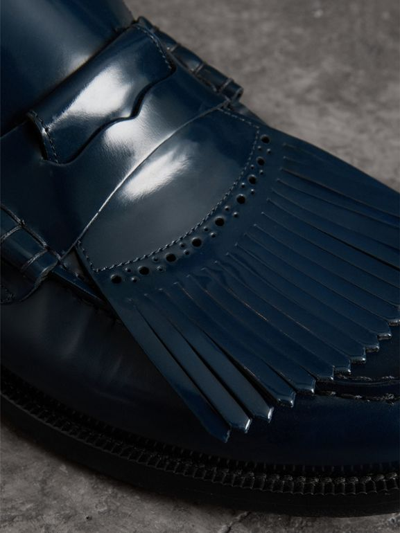 Kiltie Fringe Leather Loafers in Navy - Men | Burberry United Kingdom - cell image 1