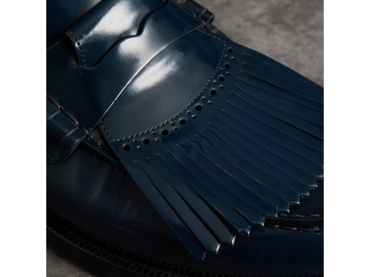 Kiltie Fringe Leather Loafers in Navy - Men | Burberry - cell image 1
