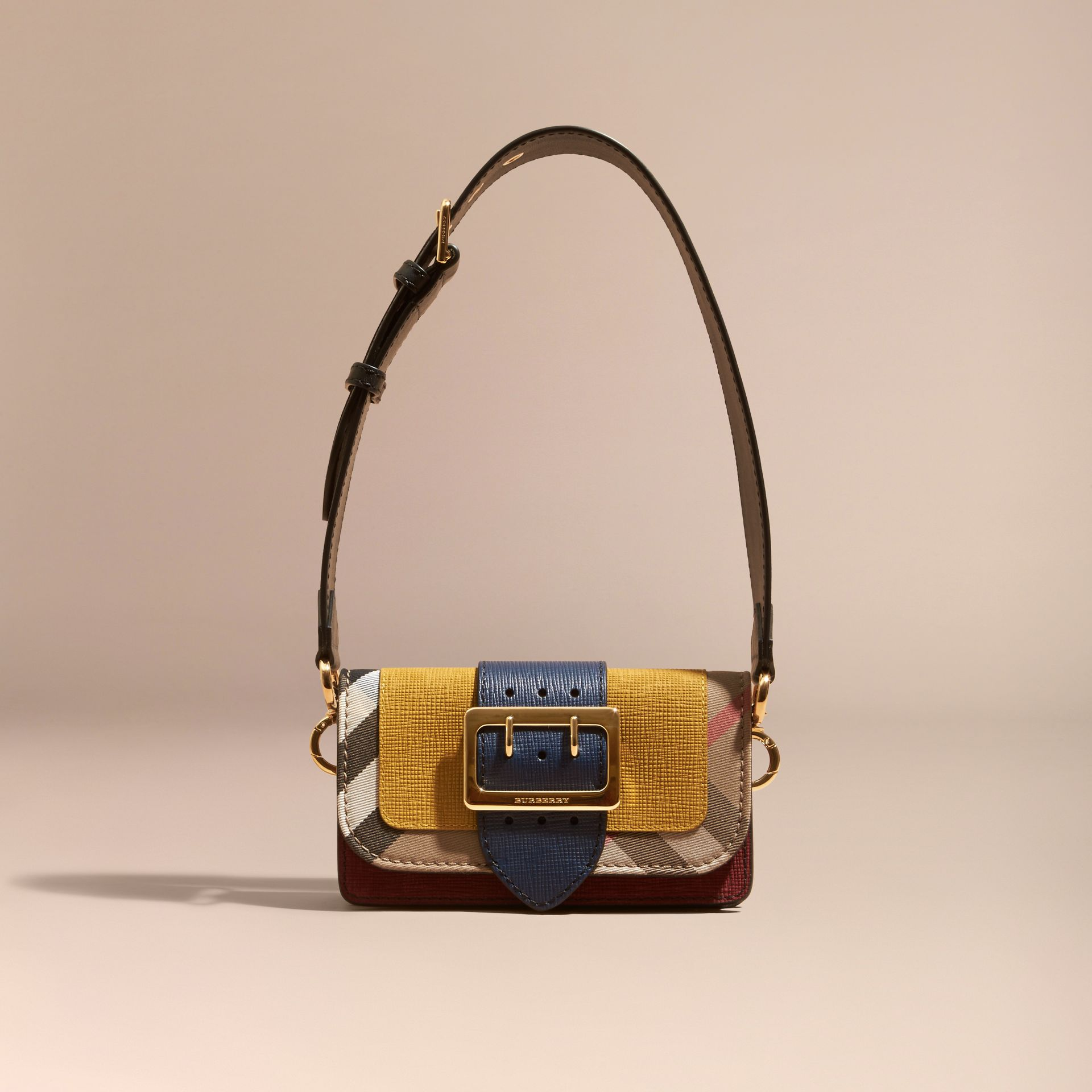 Larch yellow The Small Buckle Bag in Suede and House Check Larch Yellow - gallery image 9