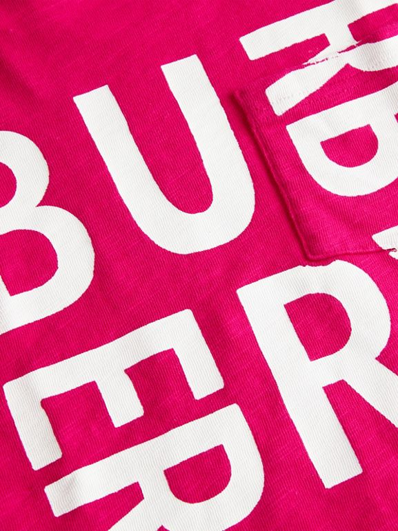 Logo Print Cotton T-shirt in Raspberry Pink - Children | Burberry - cell image 1