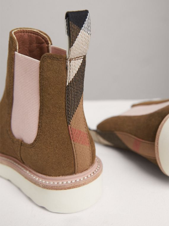 Two-tone Suede Chelsea Boots in Sandstone | Burberry United States - cell image 2