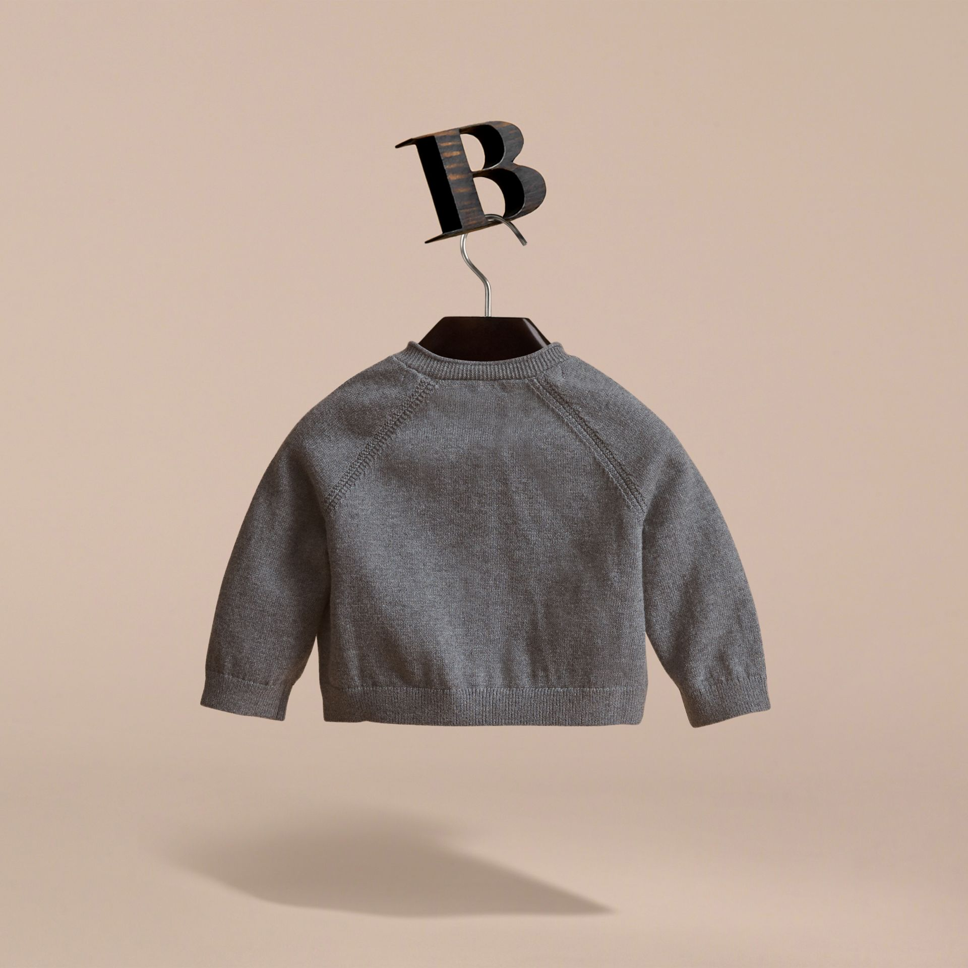 Knitted Cotton Cardigan in Mid Grey Melange | Burberry - gallery image 4