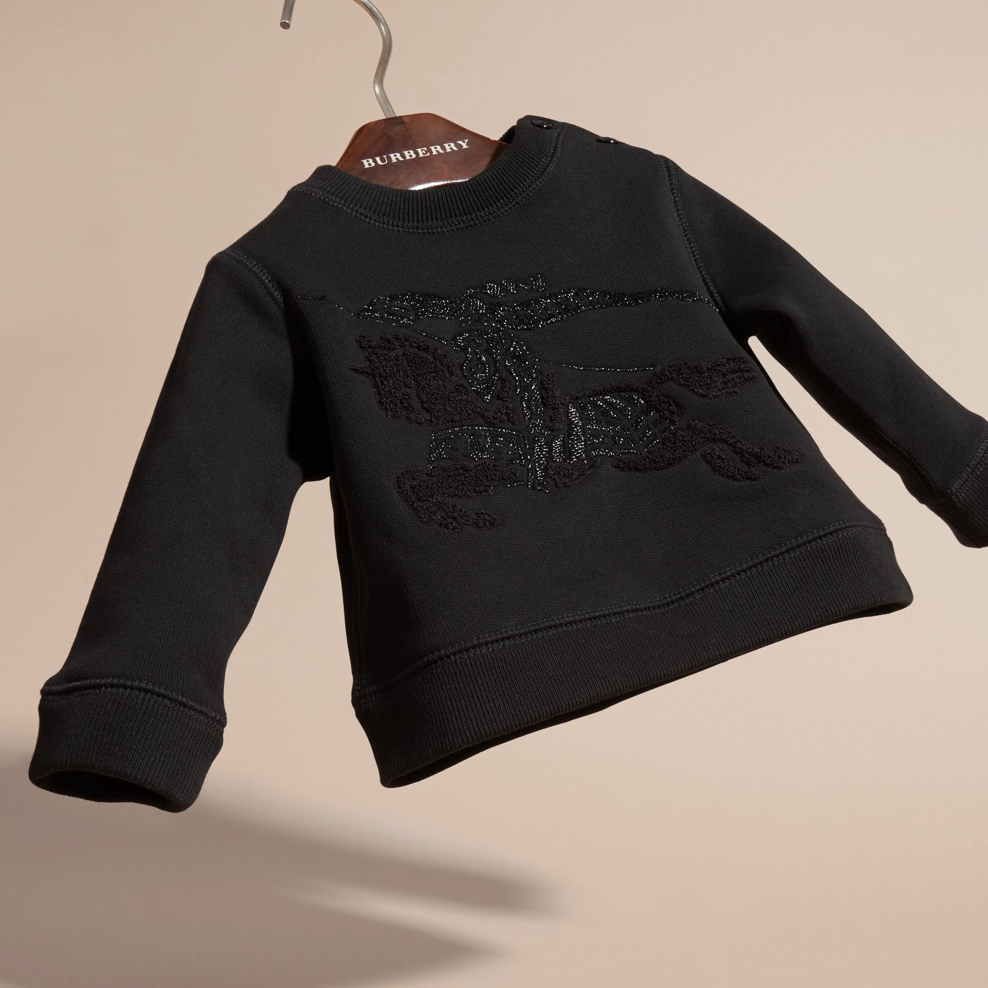 Black Equestrian Knight Detail Cotton Sweatshirt - gallery image 3