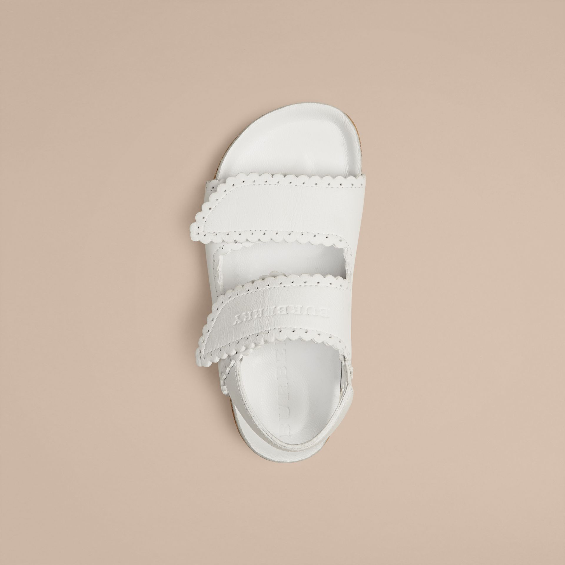 Optic white Scallop Detail Leather Sandals - gallery image 2
