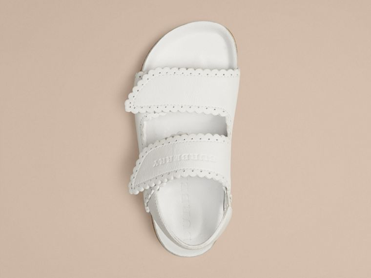 Optic white Scallop Detail Leather Sandals - cell image 1