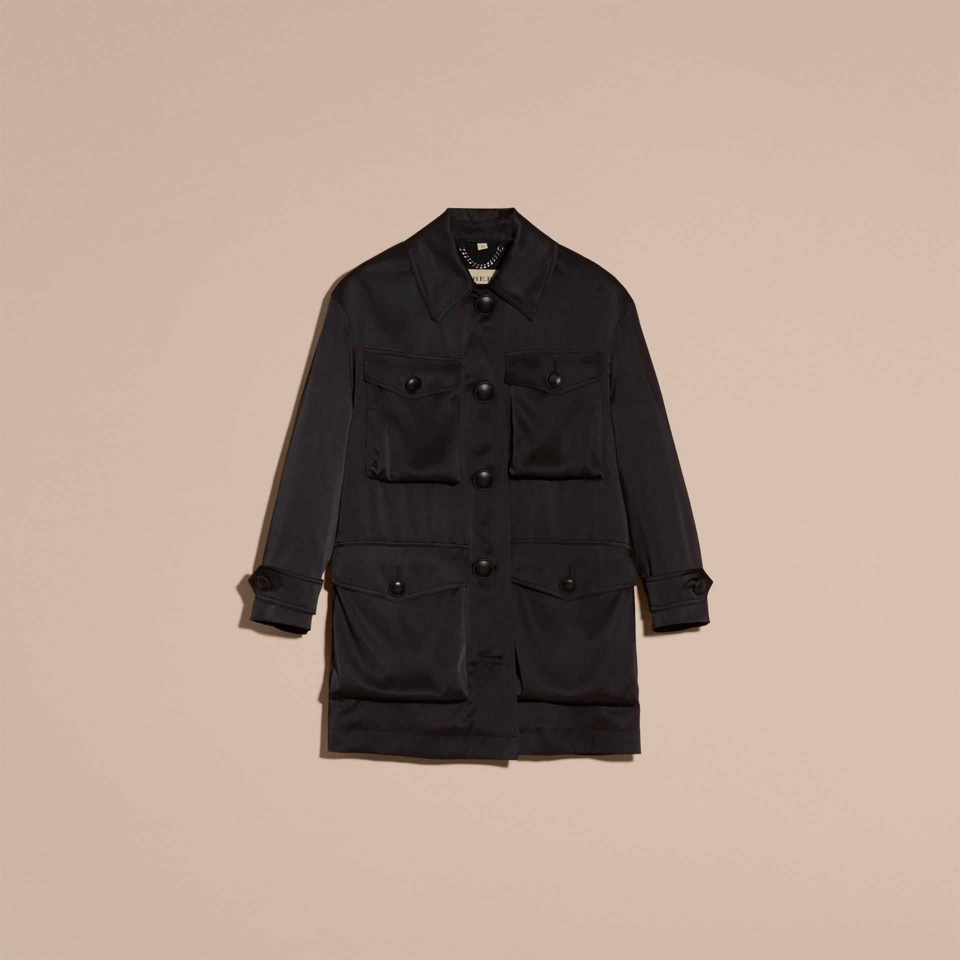 Check Undercollar Silk Field Jacket - Women | Burberry - gallery image 4