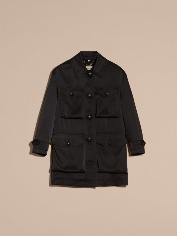 Black Check Undercollar Silk Field Jacket - cell image 3