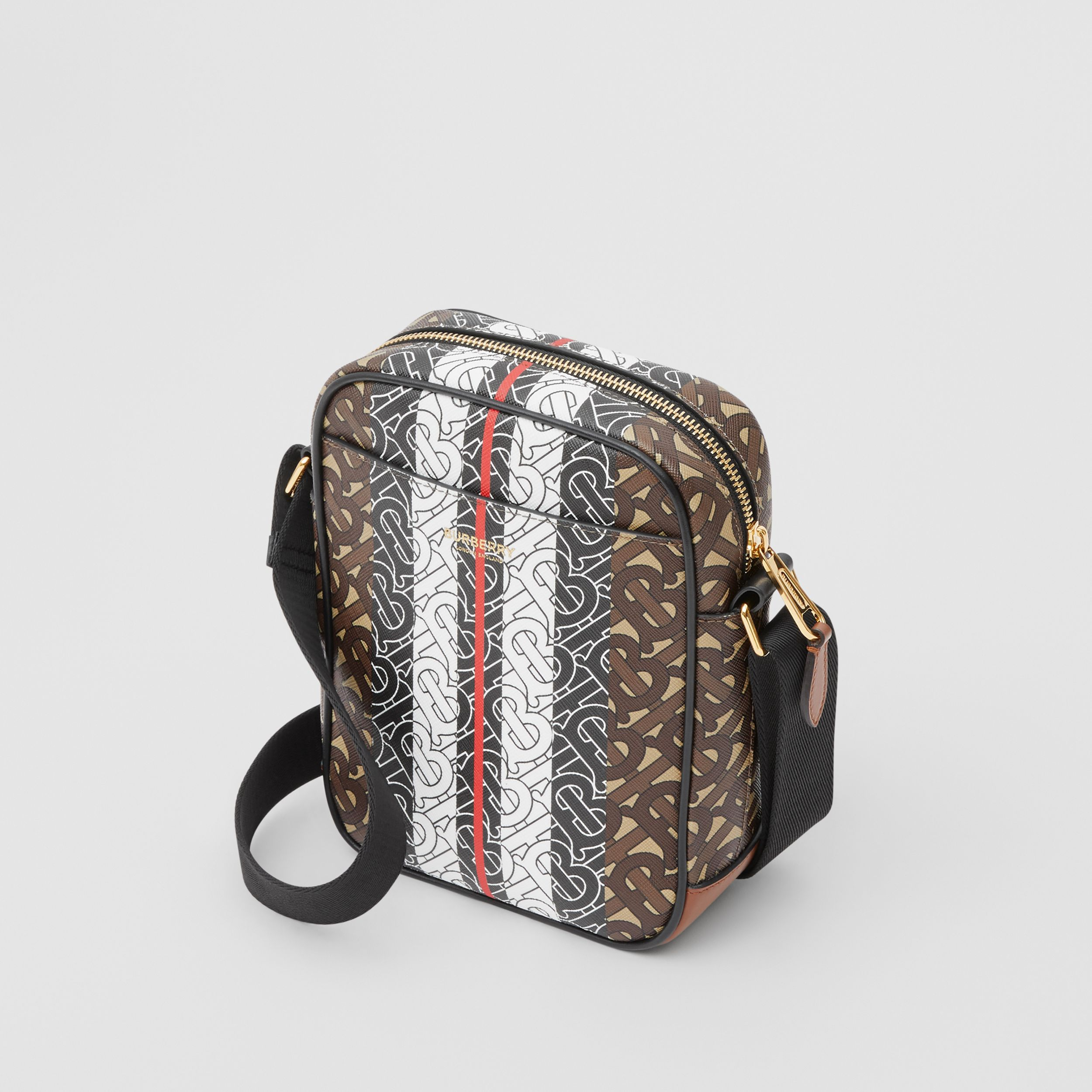 Monogram Stripe Print E-canvas Crossbody Bag in Bridle Brown - Men | Burberry - 4