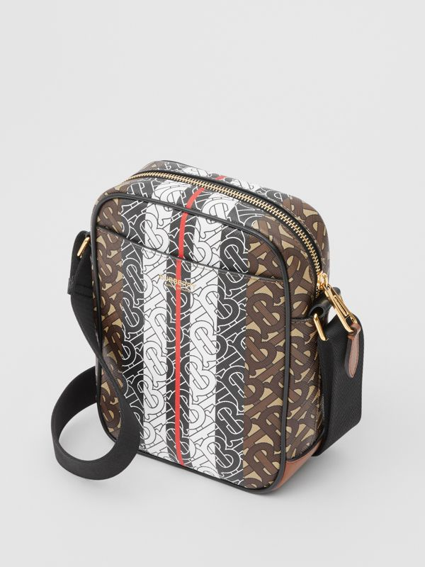 Monogram Stripe Print E-canvas Crossbody Bag in Bridle Brown - Men | Burberry United Kingdom - cell image 3