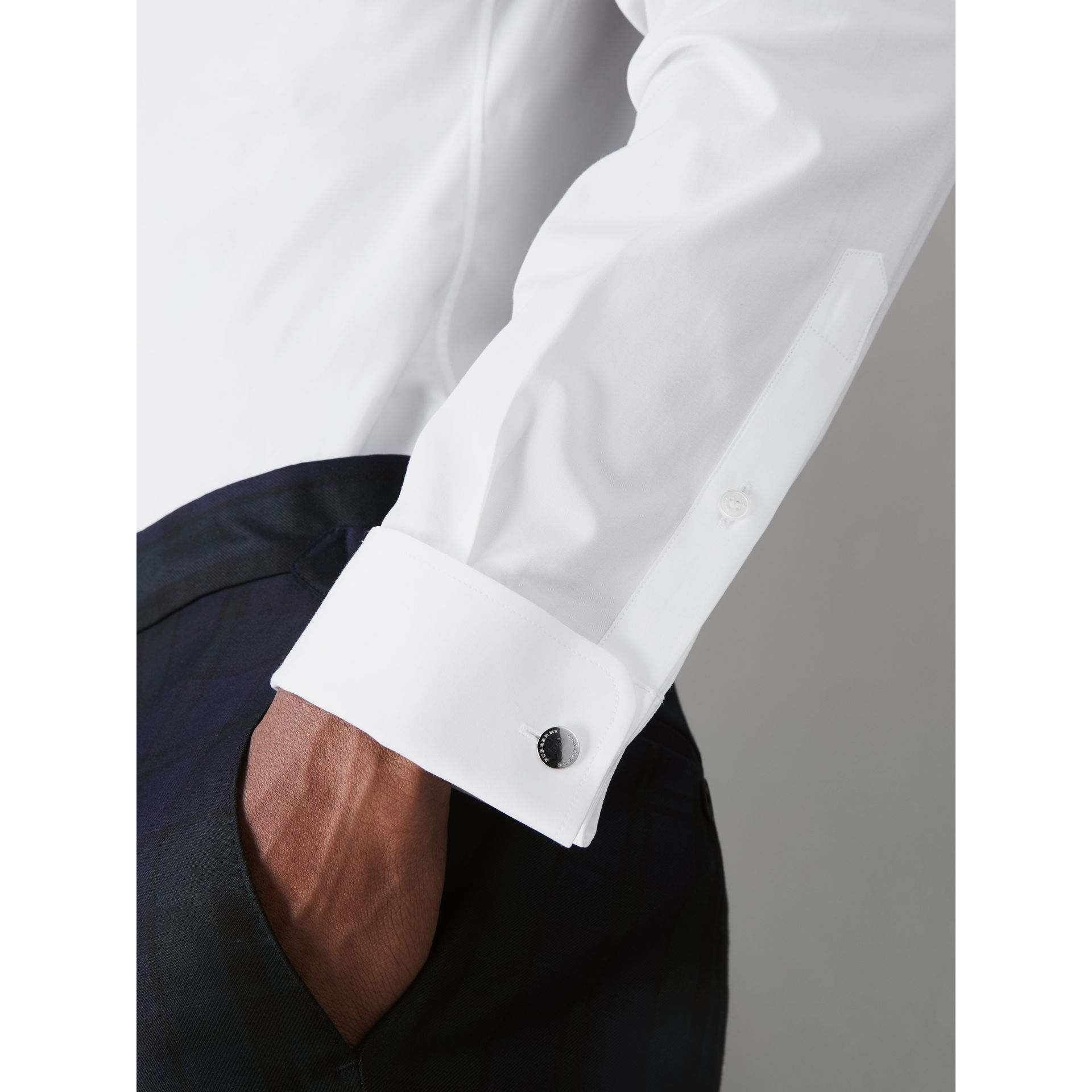 Slim Fit Double Cuff Cotton Poplin Shirt in White - Men | Burberry - gallery image 1