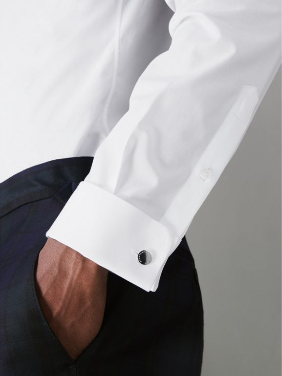 Slim Fit Double Cuff Cotton Poplin Shirt in White - Men | Burberry Canada - cell image 1