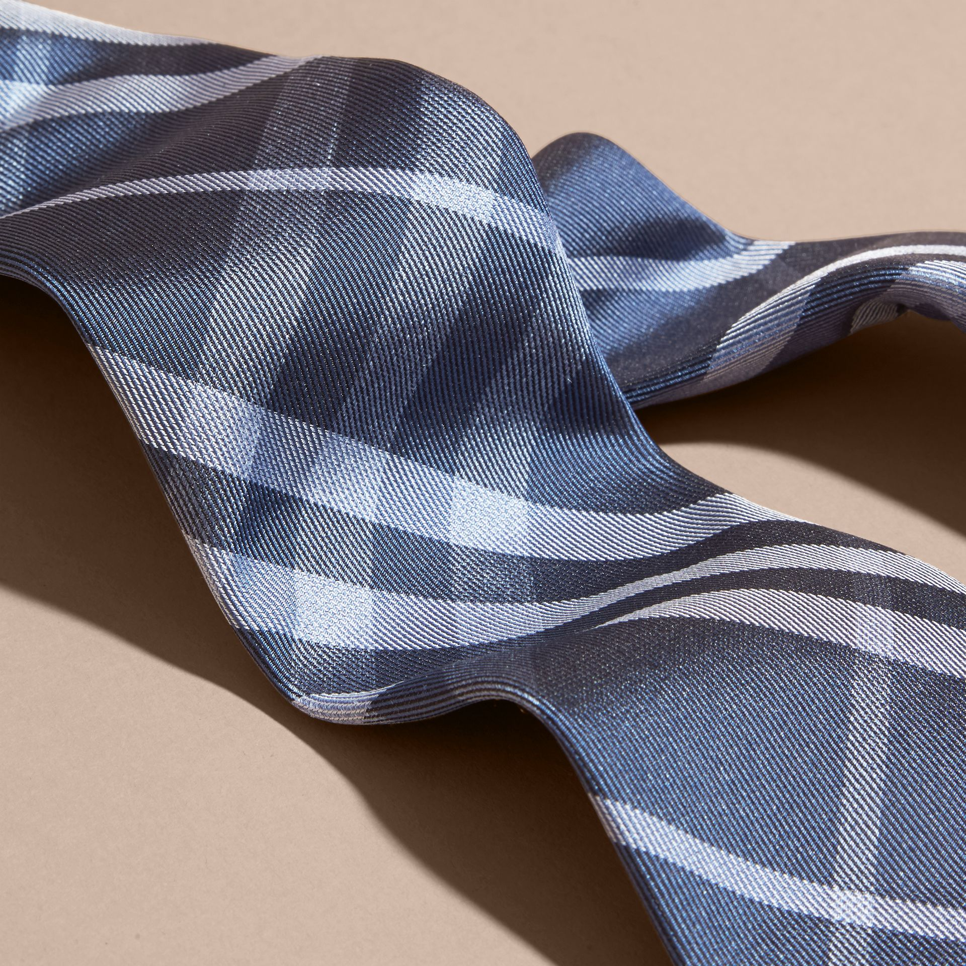 Mineral blue Modern Cut Check Silk Tie - gallery image 2
