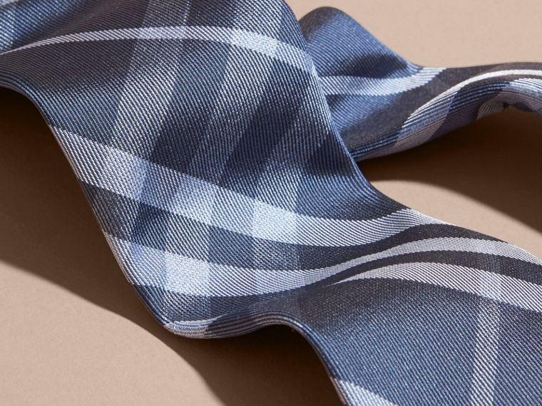 Mineral blue Modern Cut Check Silk Tie - cell image 1
