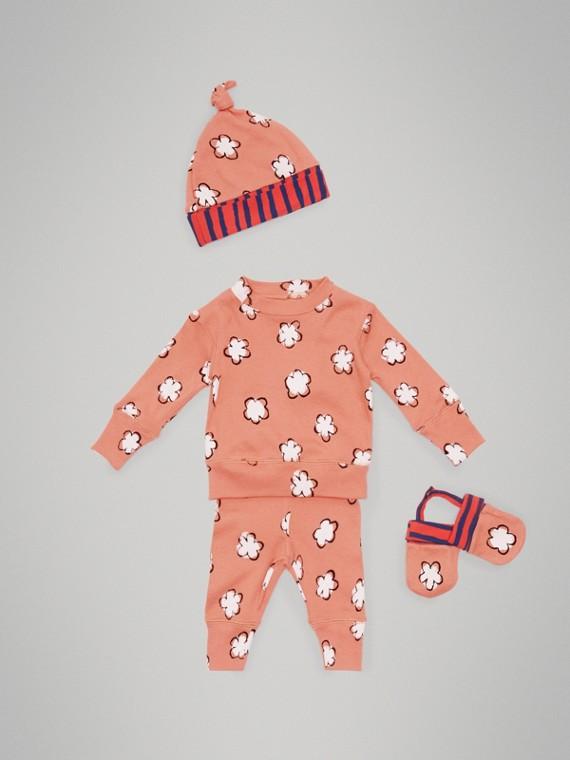 Conjunto de regalo para bebé de cuatro piezas en algodón con estampado de flores (Rosa Terroso)
