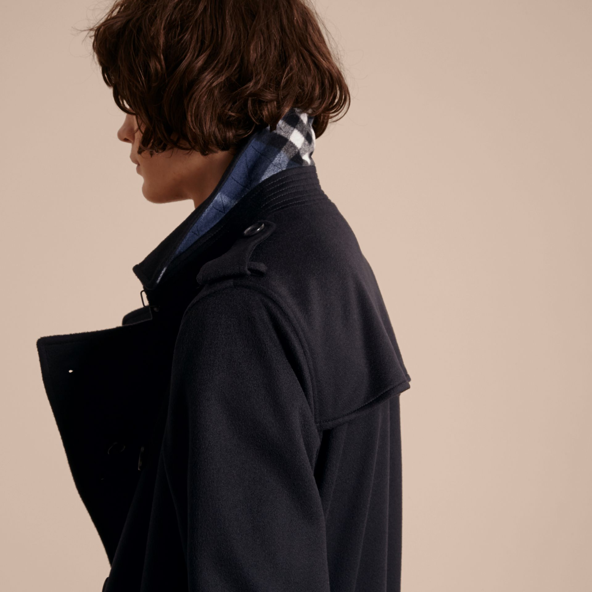 Navy Cashmere Trench Coat Navy - gallery image 5