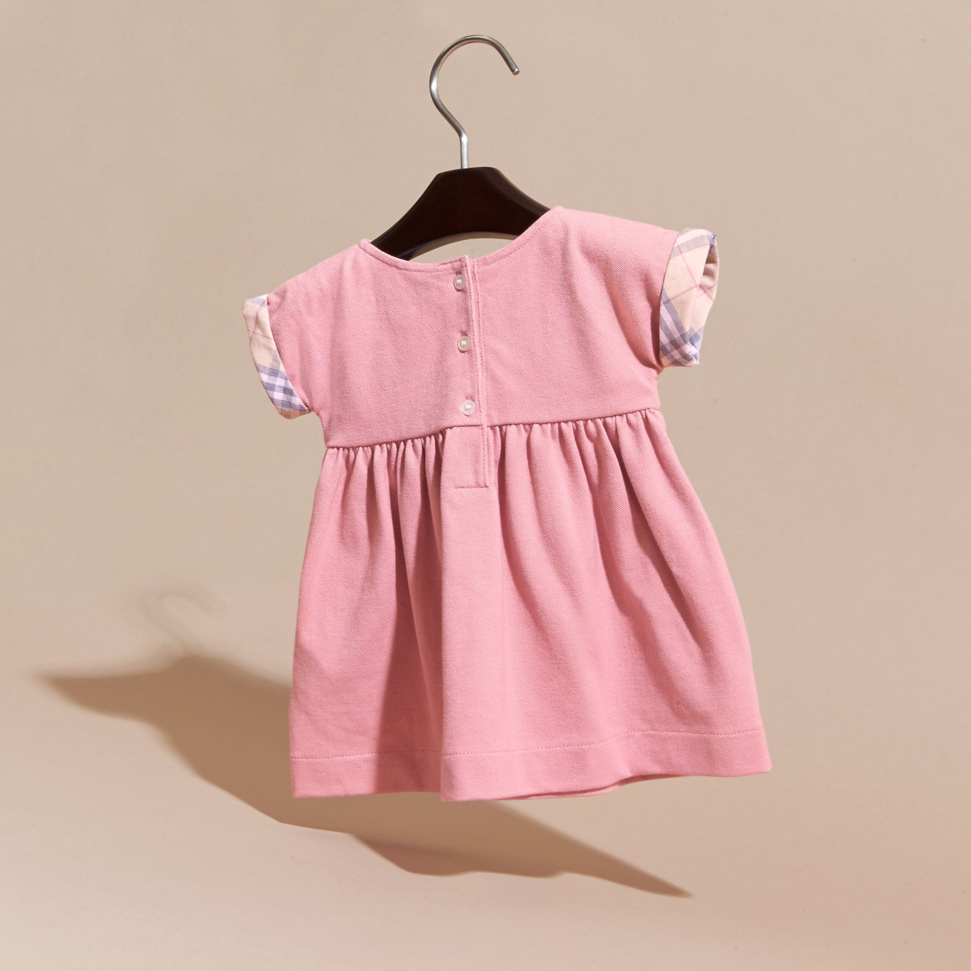 Short-sleeved Cotton Piqué Dress with Check Detail - Children | Burberry - gallery image 4
