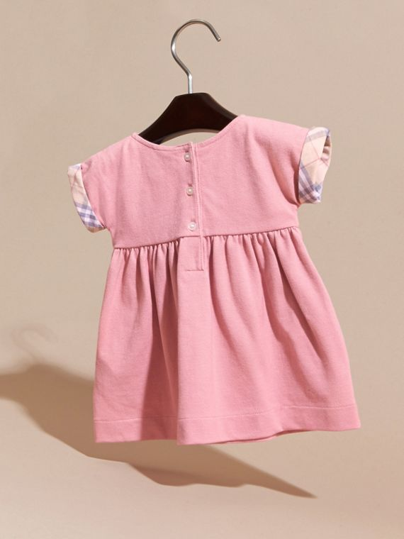Short-sleeved Cotton Piqué Dress with Check Detail - Children | Burberry - cell image 3