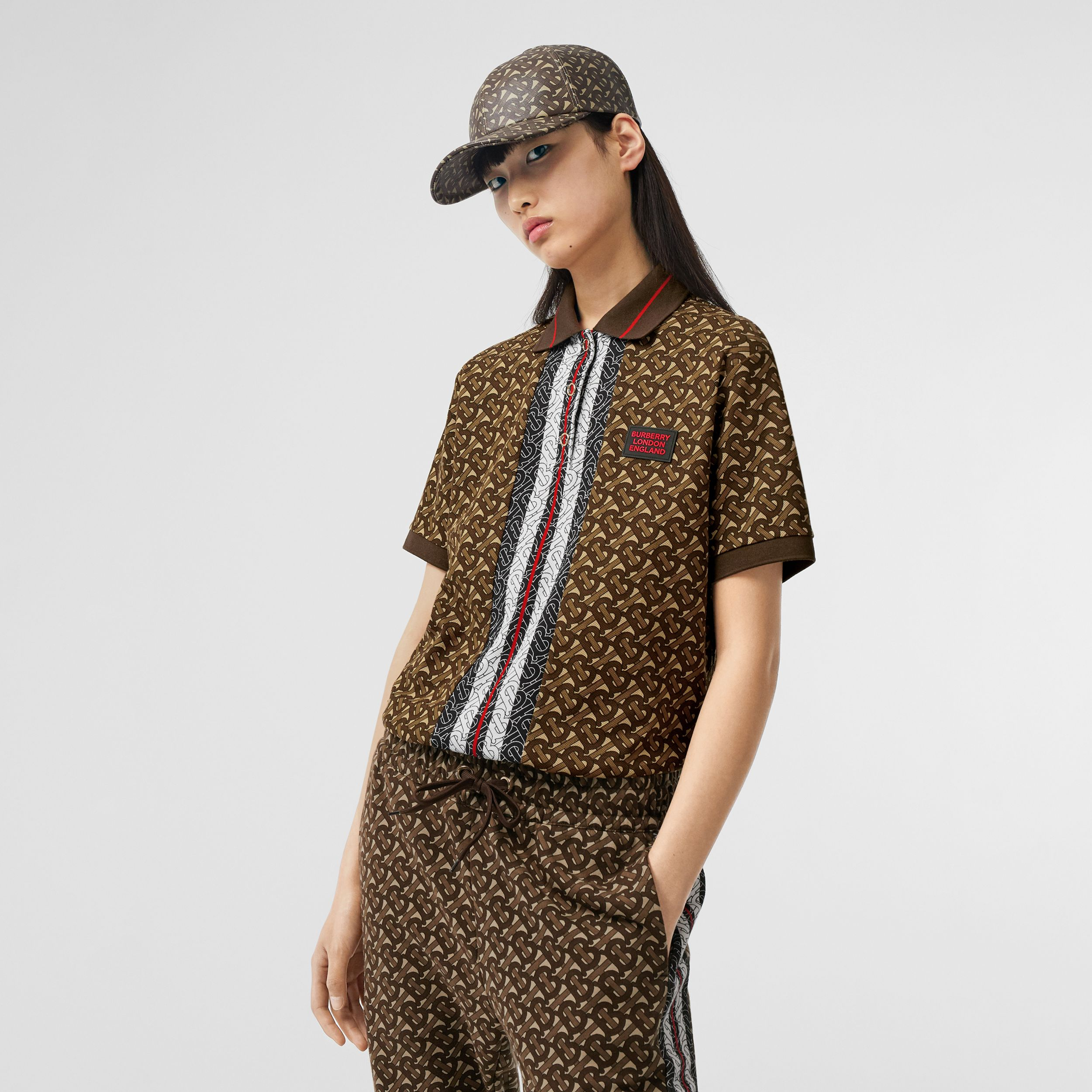 Monogram Stripe Print Cotton Oversized Polo Shirt in Bridle Brown - Women | Burberry - 1