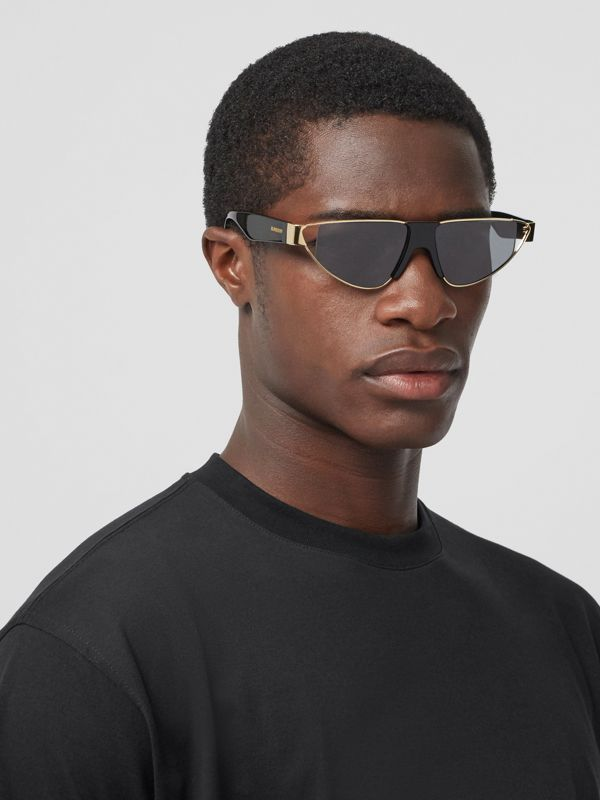 Gold-plated Triangular Frame Sunglasses in Black | Burberry - cell image 3