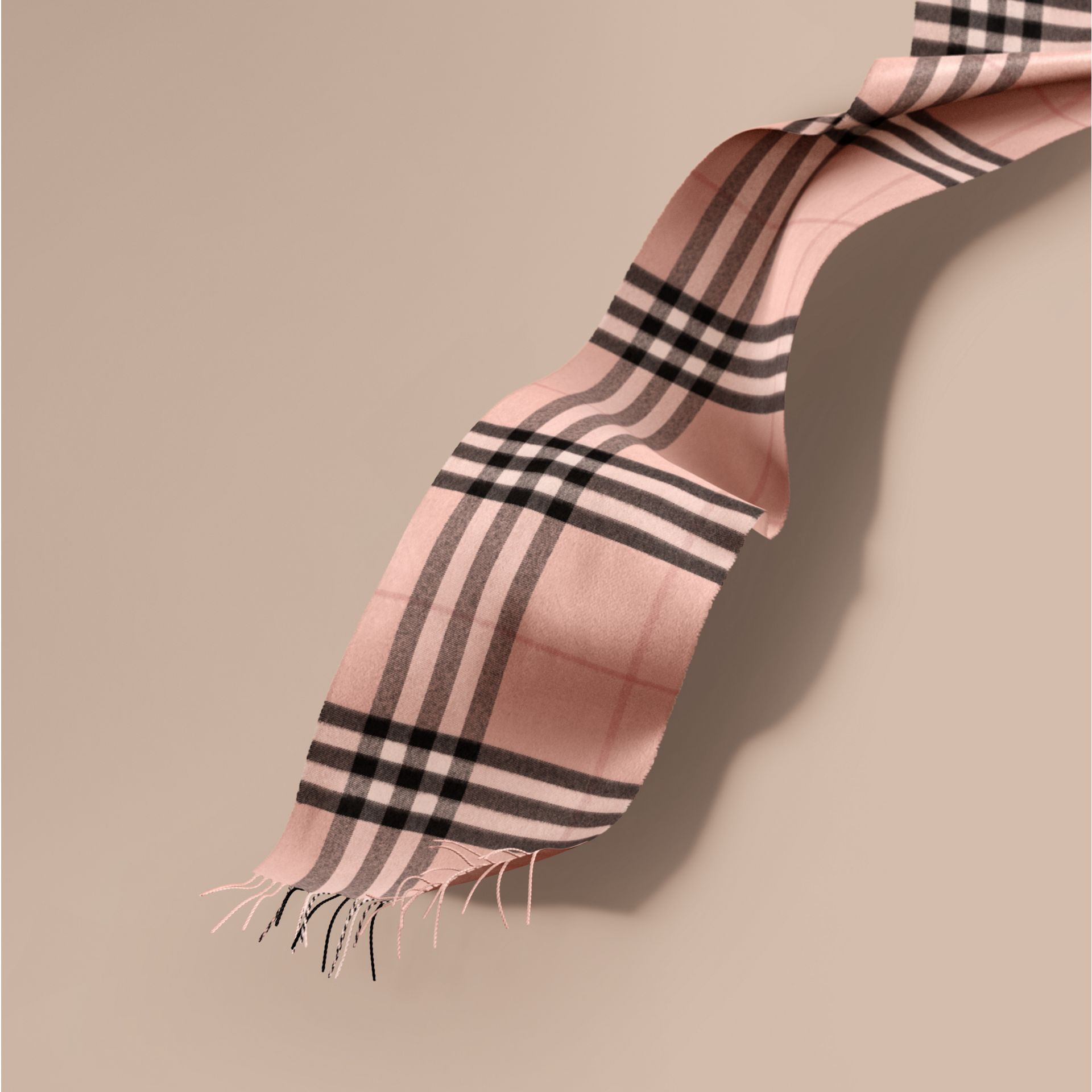 The Classic Cashmere Scarf in Check Rose - gallery image 1