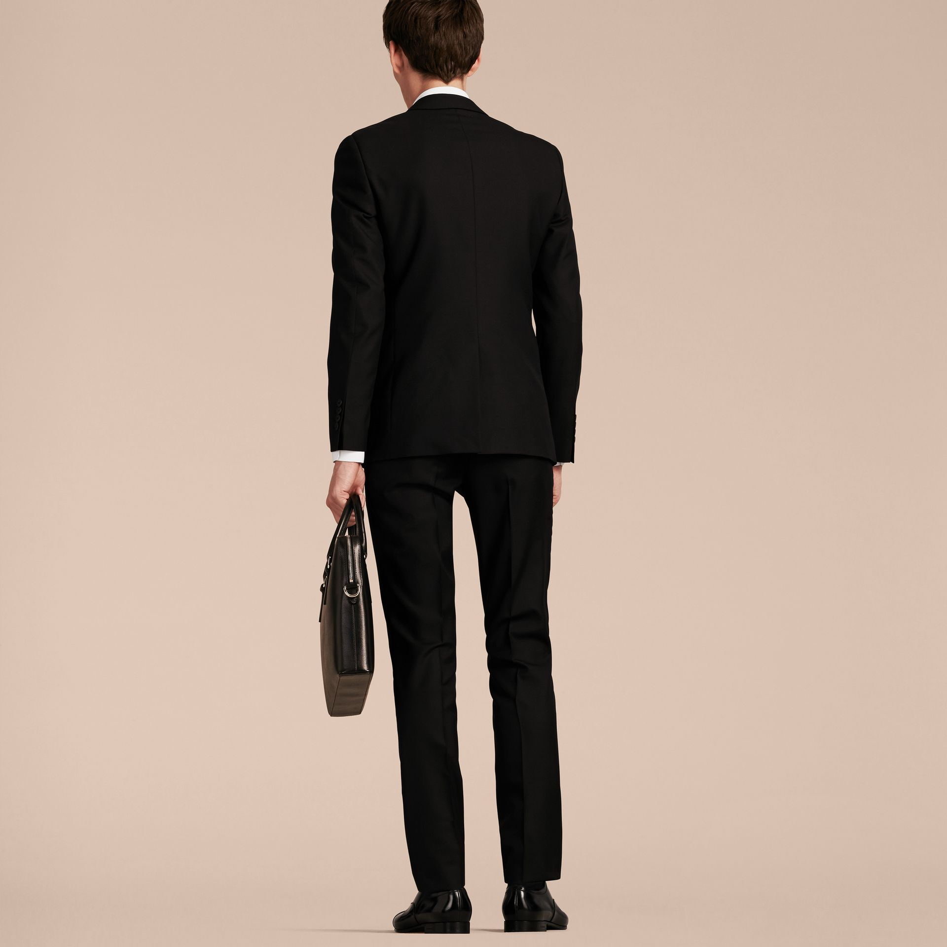 Slim Fit Wool Part-canvas Suit Black - gallery image 3