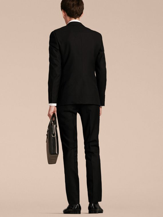 Slim Fit Wool Part-canvas Suit in Black - cell image 2