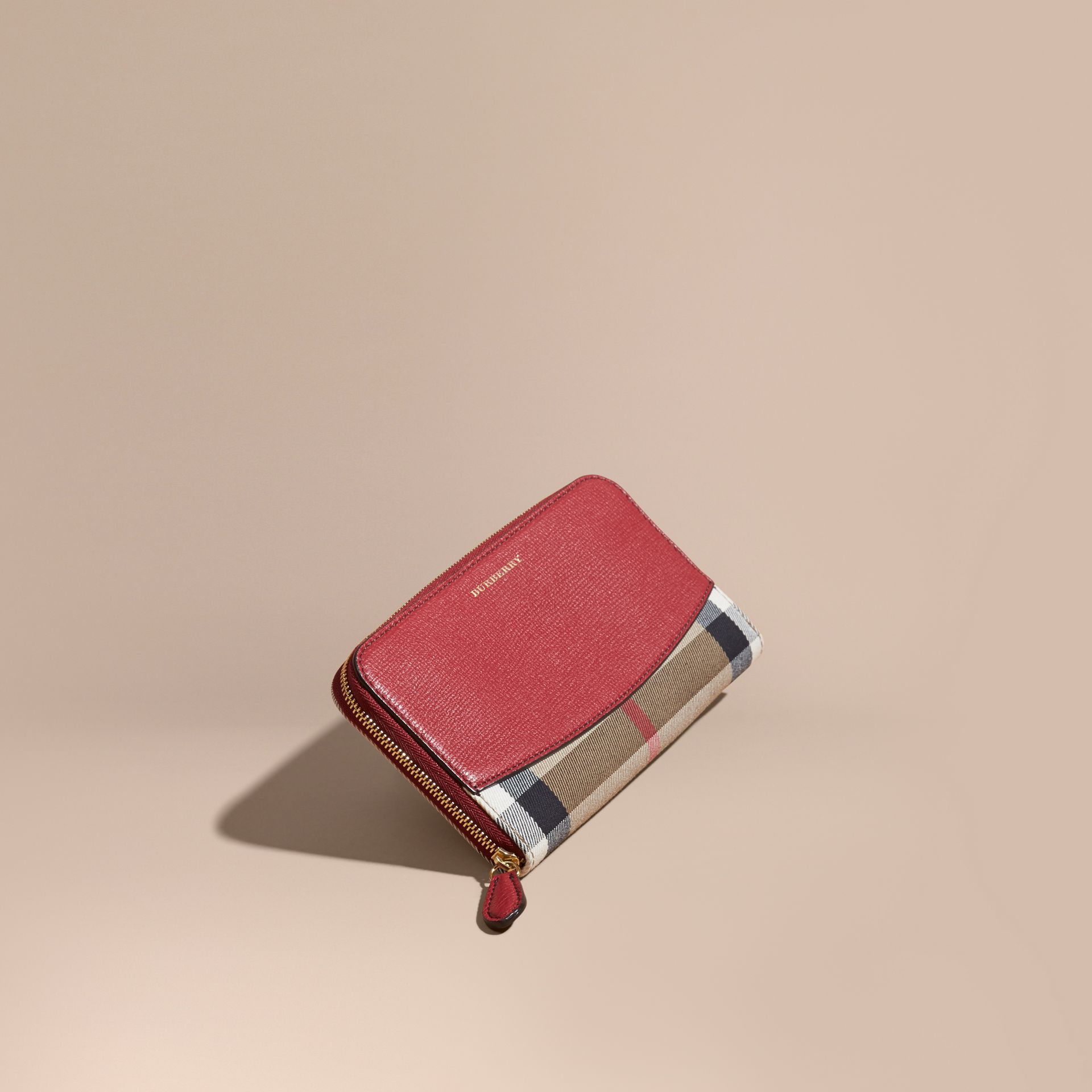 House Check and Leather Ziparound Wallet in Military Red - Women | Burberry Australia - gallery image 1