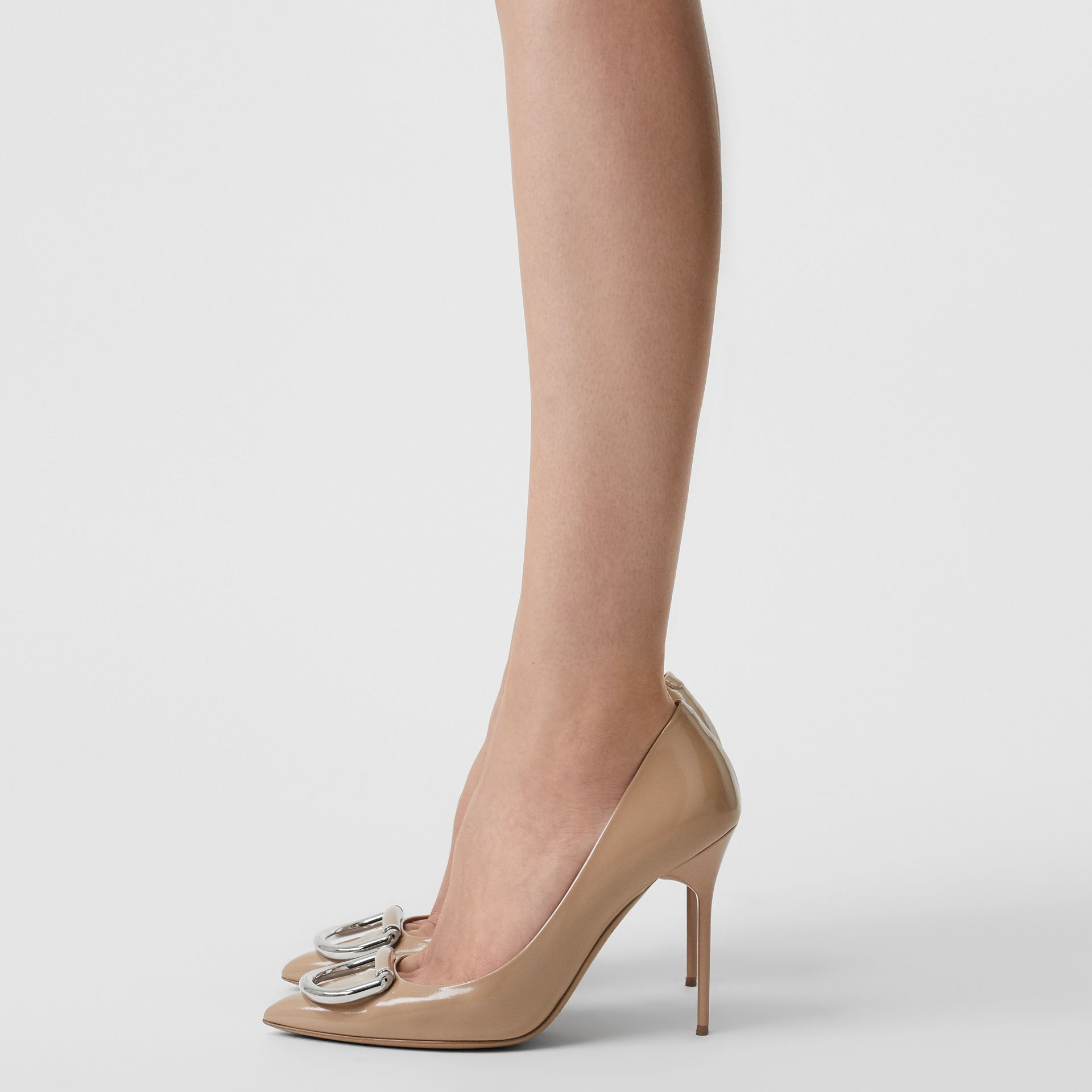 The Leather D-ring Stiletto in Nude Blush - Women | Burberry - gallery image 2