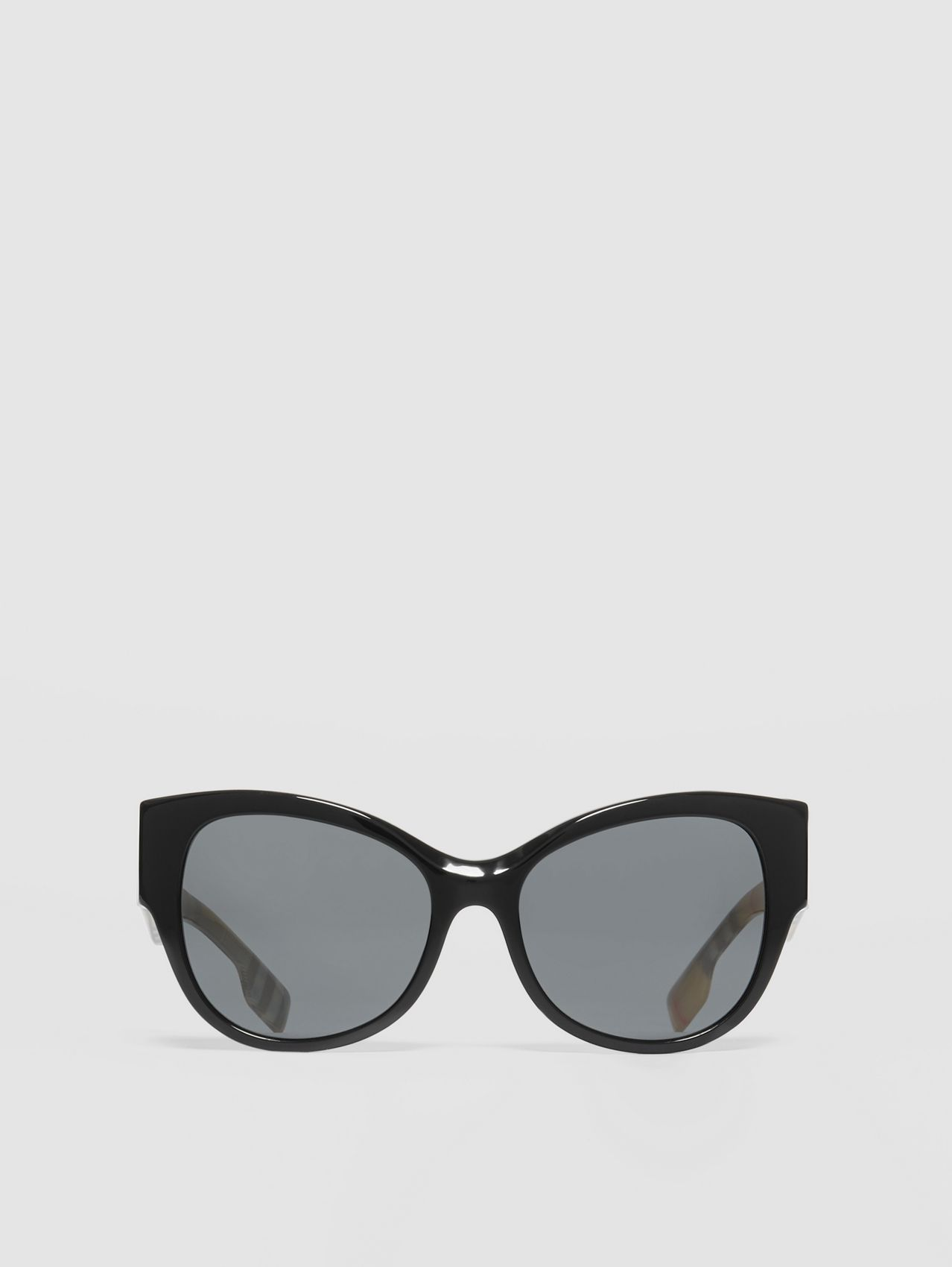 Vintage Check Detail Butterfly Frame Sunglasses (Black/beige)