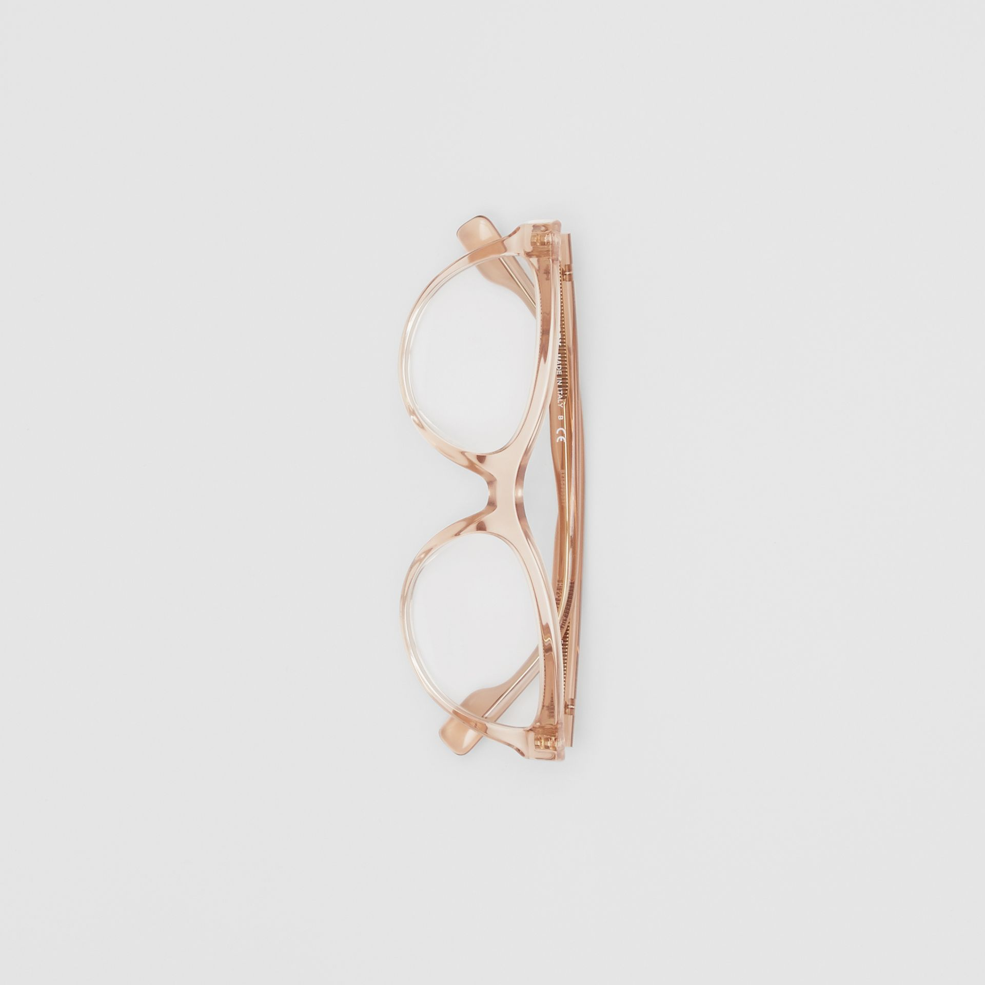 Monogram Motif Cat-eye Optical Frames in Transparent Peach - Women | Burberry United States - gallery image 3