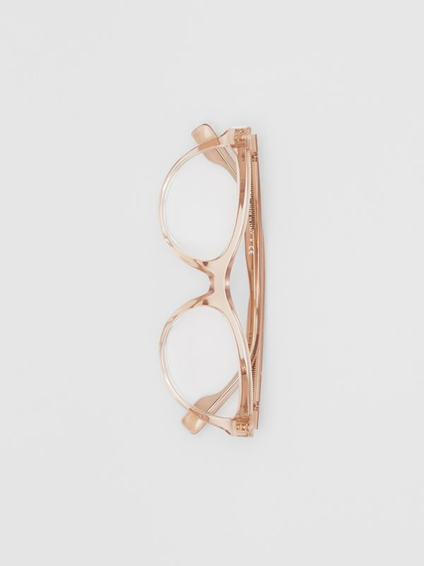 Monogram Motif Cat-eye Optical Frames in Transparent Peach - Women | Burberry - cell image 3