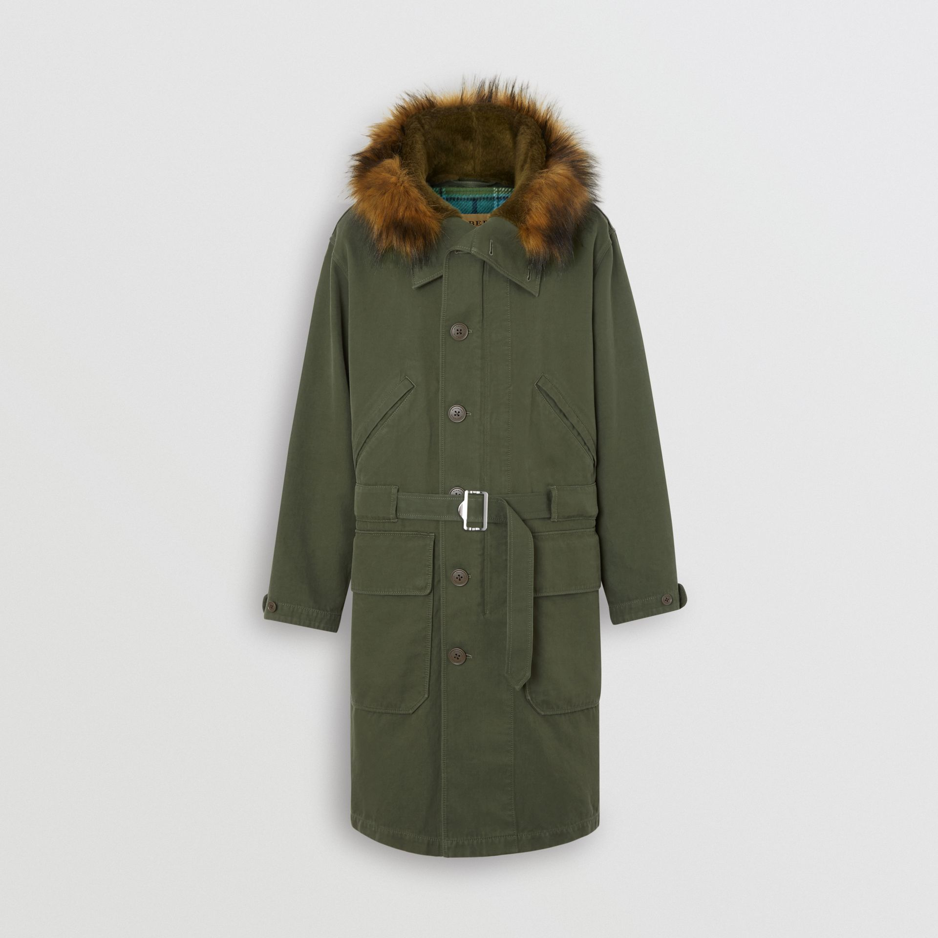 Double-faced Cotton Silk Hooded Parka with Warmer in Olive - Men | Burberry Singapore - gallery image 3