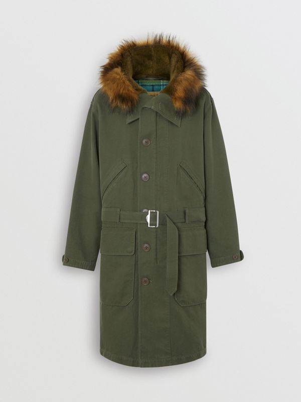 Double-faced Cotton Silk Hooded Parka with Warmer in Olive - Men | Burberry Singapore - cell image 3