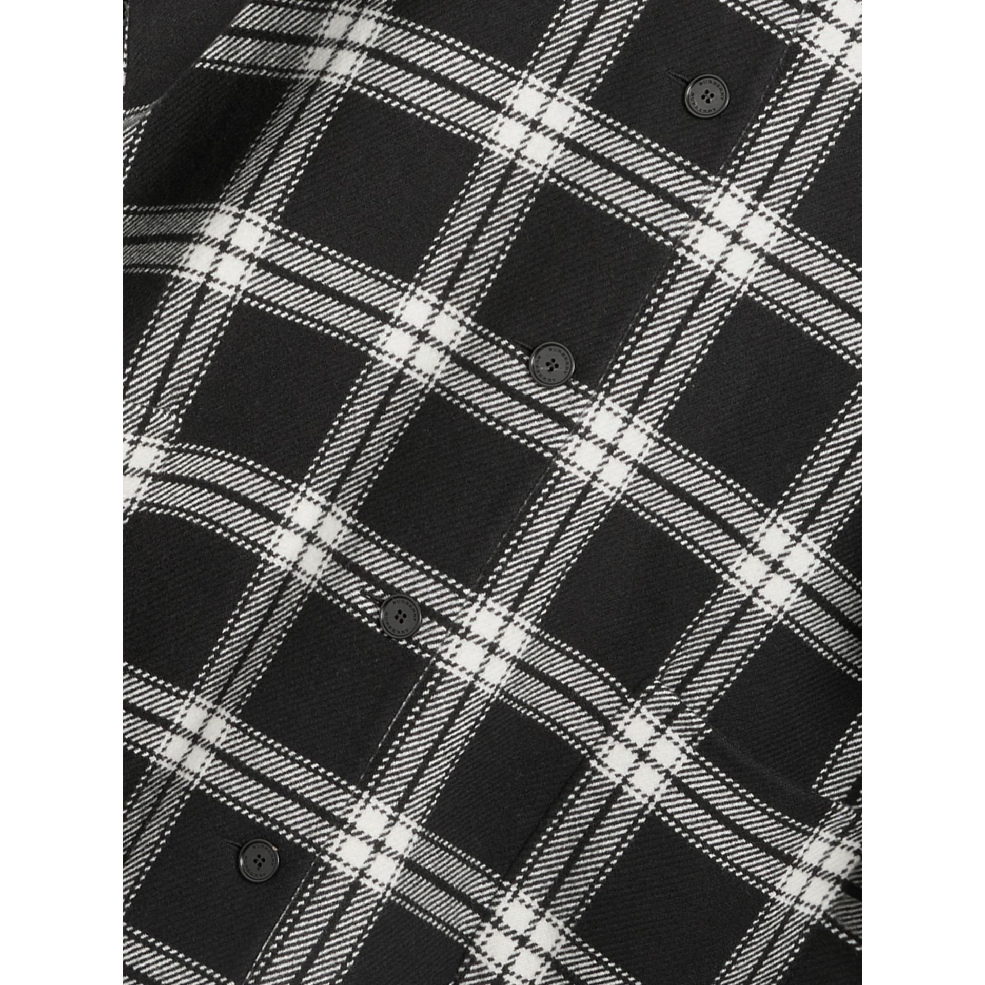 Reversible Check Wool Cashmere Oversized Poncho in Black - Women | Burberry - gallery image 1